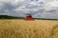 Combineer oogstenkorrel op het gebied, toen stock afbeelding