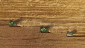 Combines in the field. stock footage