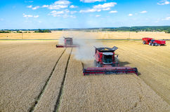 Combines and tractors working on the wheat field Royalty Free Stock Photo
