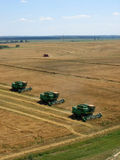 Combines at work. End of summer is busy time for farmers. This combines are reaping rye Royalty Free Stock Photo