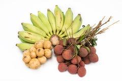 Combinez le fruit avec, le ramboutan Longkong de litchis de banane et la pomme Photo libre de droits