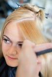 Combing Hair Before Haircut Stock Photos