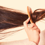 Combing and pulls hair. Royalty Free Stock Photos