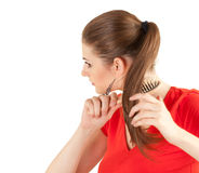 Combing woman Royalty Free Stock Photos
