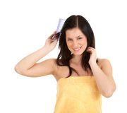 Combing woman Royalty Free Stock Photo