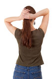 Combing woman with long hair Stock Image
