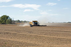 Combining Beans at Fall Harvest Stock Image