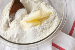 Combining butter with flour and sugar Royalty Free Stock Photos