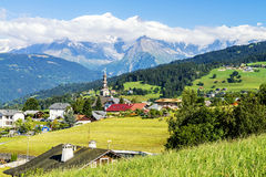 Combloux village and Mont Blanc Royalty Free Stock Image