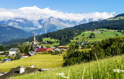 Combloux village and Mont Blanc Stock Photos