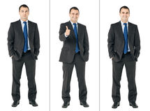 Combo businessman. Businessman serious, smiling and showing thumbs up sign combo on white stock photos