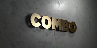 Combo - Gouden teken opgezet op glanzende marmeren muur - 3D teruggegeven royalty vrije voorraadillustratie Stock Afbeelding
