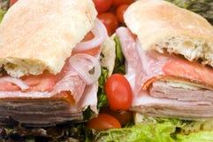 combo gourmet- italiensk smörgås för brödciabatta arkivfoton