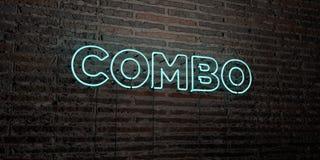 COMBO - Realistisch Neonteken op Bakstenen muurachtergrond - 3D teruggegeven royalty vrij voorraadbeeld Stock Afbeelding