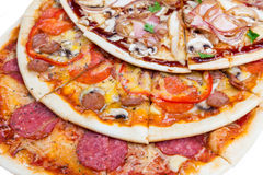 Combo with three different slices of pizzas. Closeup from top. for advertisement or web design, promo, special price stock photo