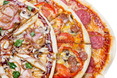 Combo with three different slices of pizzas. Closeup from top. for advertisement or web design, promo, special price stock images