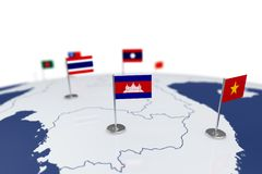Combodia flag. Country flag with chrome flagpole on the world map with neighbors countries borders. 3d illustration rendering Royalty Free Stock Photos
