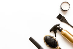 Combs and hairdresser tools on white background top view Royalty Free Stock Photography