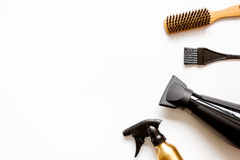 Combs and hairdresser tools on white background top view Stock Image