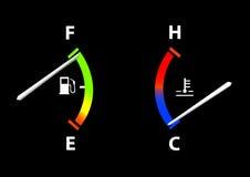 Combustible y calibrador de la temperatura Foto de archivo libre de regalías