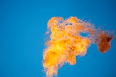 Combustion of associated petroleum gas. Stock Photos
