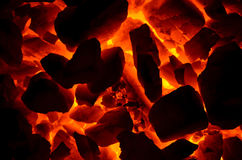 Combustion of coal anthracite. Stock Image