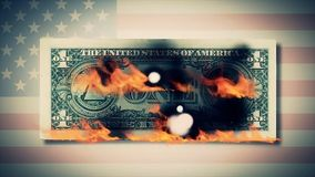 Combustion d'une animation de billets d'un dollar dollar du feu Cent burning de billet d'un dollar Sur un billet d'un dollar de p Images stock