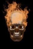 Combustion dans le crâne en métal de flammes Photographie stock