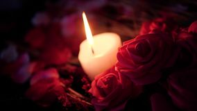 Combustion de bougie et fleur de bouquet pour la longueur de Saint Valentin banque de vidéos