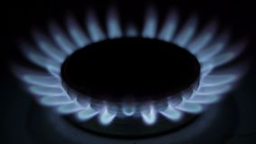 Combustion of natural gas in the burner Stock Photo
