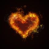 Combustione calda del cuore del fuoco Immagine Stock