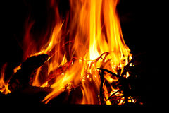 Combustione calda del fuoco con le fiamme rosse fotografia stock