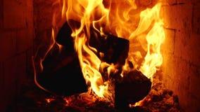 Combustione del fuoco con le fiamme del movimento lento in stufa stock footage