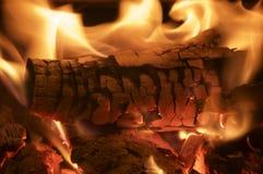 Combustione del fuoco di legno Immagini Stock Libere da Diritti