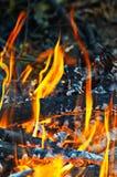Combustione del fuoco nel primo piano di notte Immagini Stock Libere da Diritti