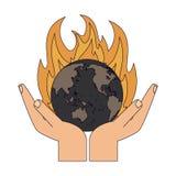 Combustione del mondo della terra illustrazione vettoriale