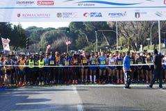 Começo da maratona de Roma-Ostia meio Imagens de Stock Royalty Free