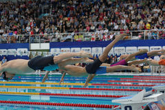 Começo da natação do estilo livre durante o copo de Salnikov Fotografia de Stock Royalty Free