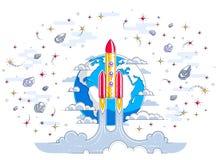 Começo de Rocket da terra ao espaço para descobrir não descoberto, cercado por cometas, por asteroide, por meteoros, por estrelas ilustração do vetor