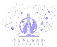 Começo de Rocket da terra ao espaço para descobrir não descoberto, surro ilustração do vetor