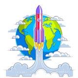 Começo de Rocket da terra a espaçar para descobrir galáxias não descobertas Explore o universo, ciência espacial interessante Lin ilustração do vetor