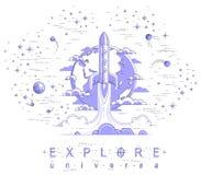 Começo de Rocket da terra a espaçar para descobrir não descoberto, cercado por satélites, por estrelas e por outros elementos Exp ilustração do vetor