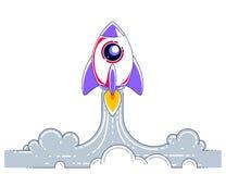 Começo de Rocket a espaçar para descobrir galáxias não descobertas Explore o universo, ci?ncia espacial interessante Linha fina v ilustração stock