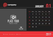 Começo domingo do projeto 2017 do calendário de mesa de janeiro Imagem de Stock
