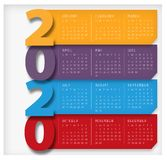 Começos 2020 do calendário em colorido moderno de domingo imagens de stock