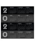 Começos 2020 do calendário em domingo Art Deco Black moderno imagens de stock royalty free