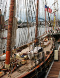 Come Aboard. Nice Detail on American Clipper moored on the River Tyne England, during the Tall Ships race with famous landmark Bridges in background royalty free stock photos