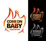 Come on baby light my fire, tshirt apparel design. Isolated vector illustration. Royalty Free Stock Image