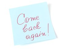 Come back again. Message on blue sticker royalty free stock photography