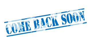 Come back soon blue stamp Royalty Free Stock Photos